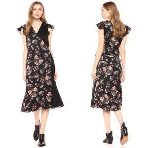 Avec Les Filles floral flutter sleeve wrap dress 4
